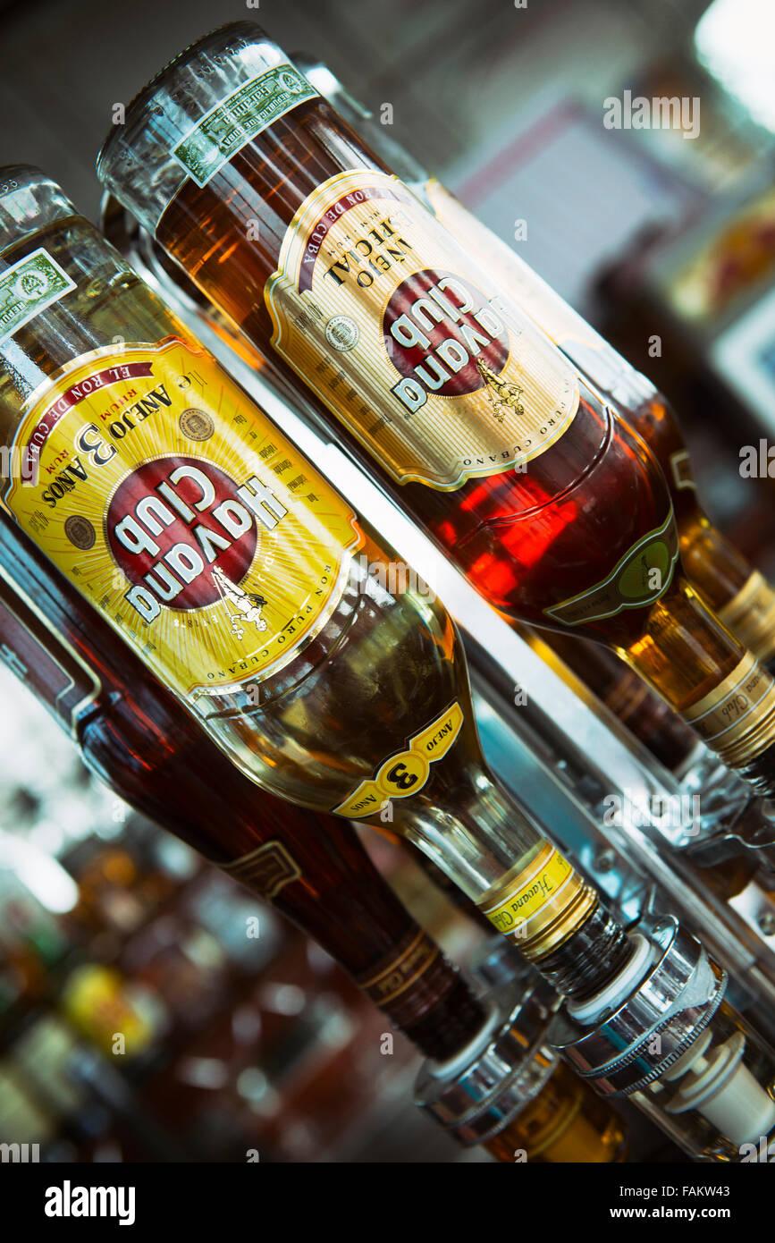 Havana Club,  Bottles of Cuban Rum. El Ron de Cuba at a Bar - Stock Image