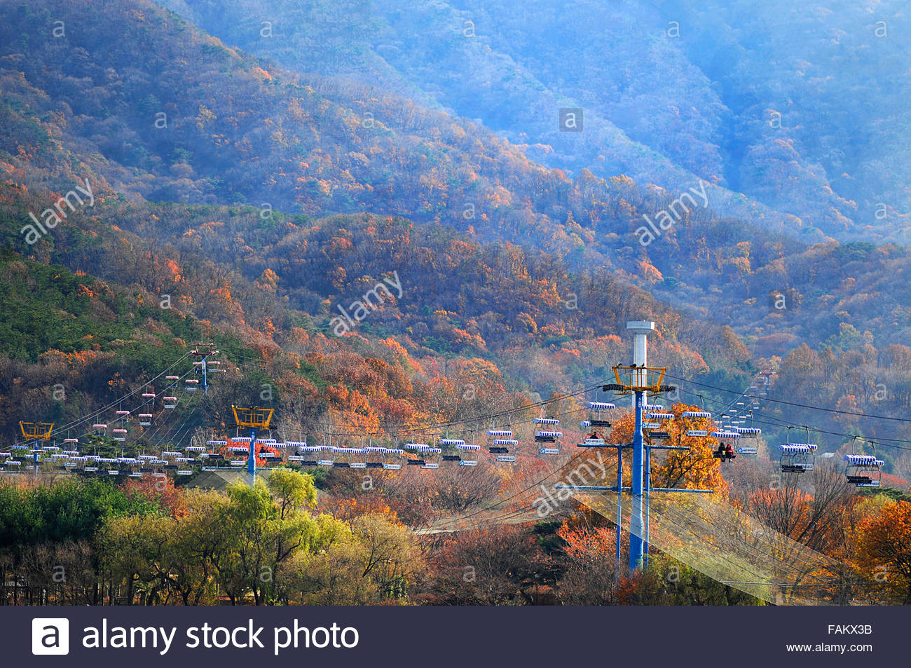 the chairlift of Seoul Grand Park, Gwacheon-si, Gyeonggi-do, South Korea - Stock Image