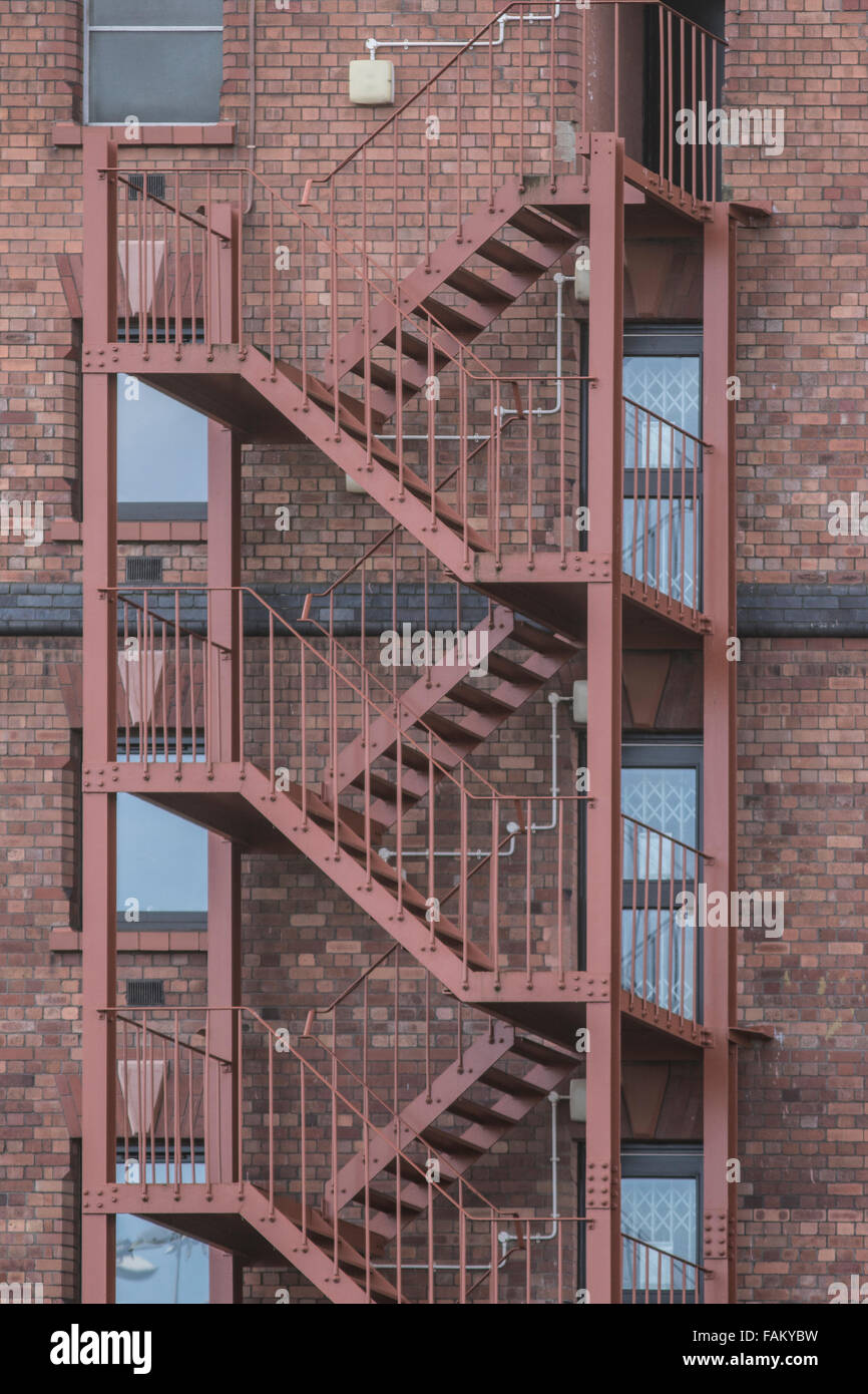 Metal fire escape on the outside of a building in canons marsh bristol Stock Photo