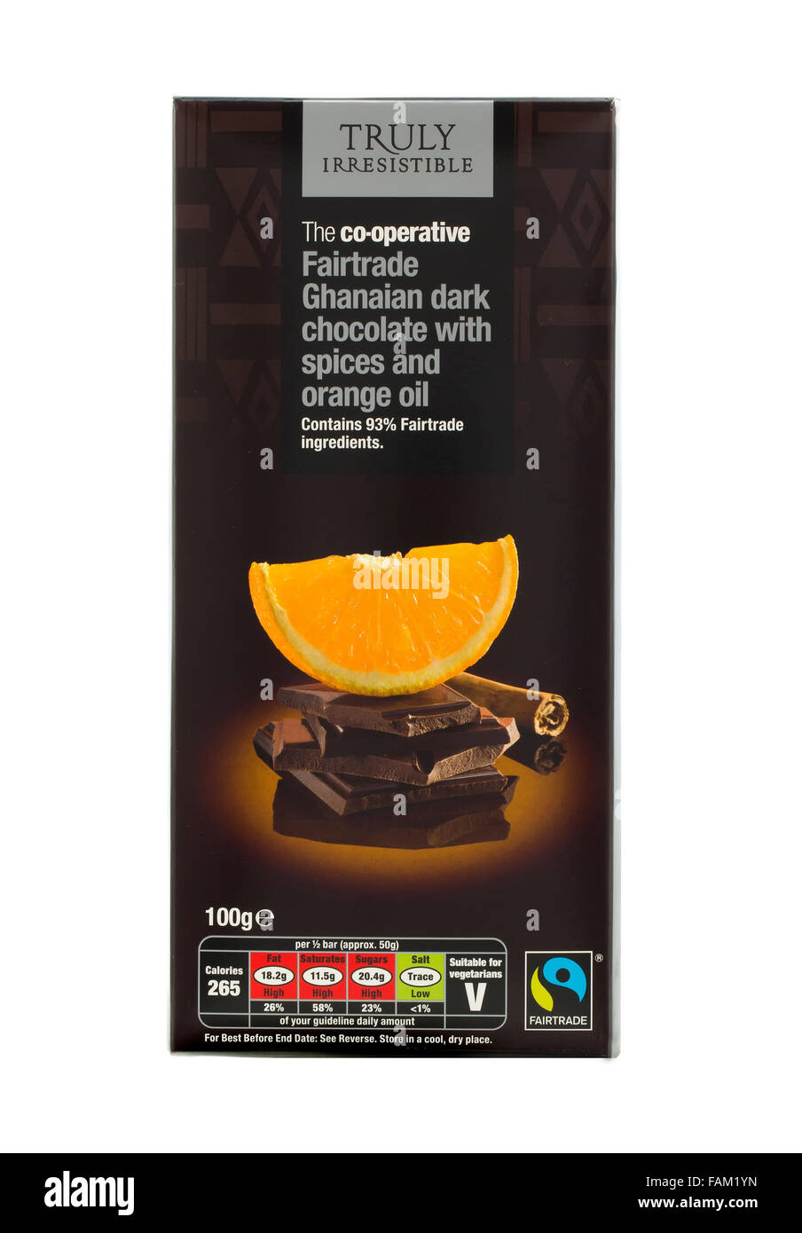 Bar Of Co-Operative Fairtrade Ghanaian Dark Chocolate with Orange Oil and Spices - Stock Image