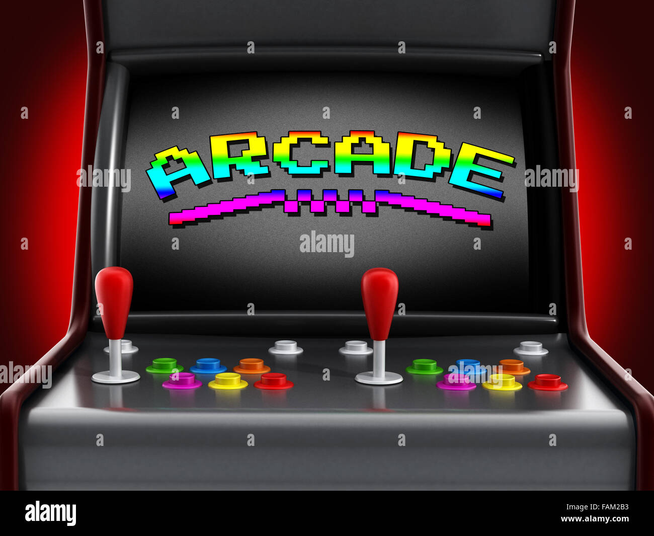 Vintage arcade machine with joysticks and push buttons for two people. - Stock Image
