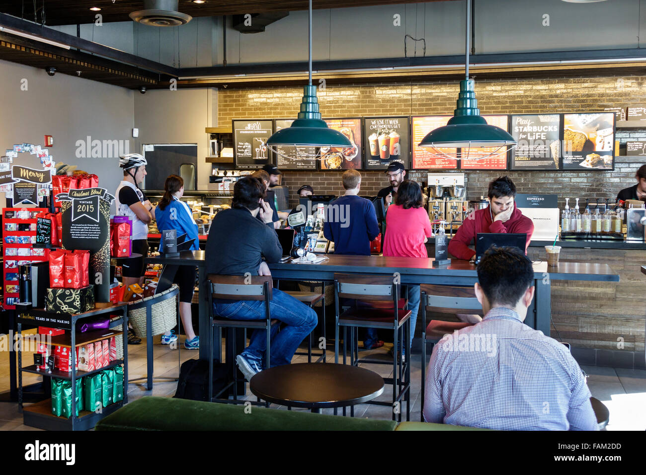 Gainesville Florida SE 1st Street Starbucks Coffee cafe inside Stock Photo