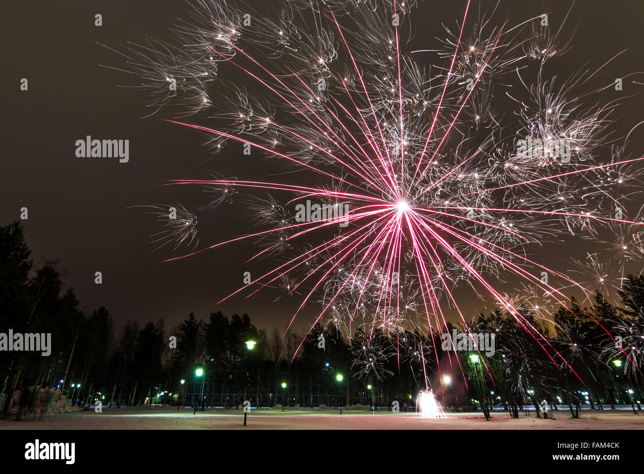 New Year's fireworks in Oulu, Finland - Stock Image