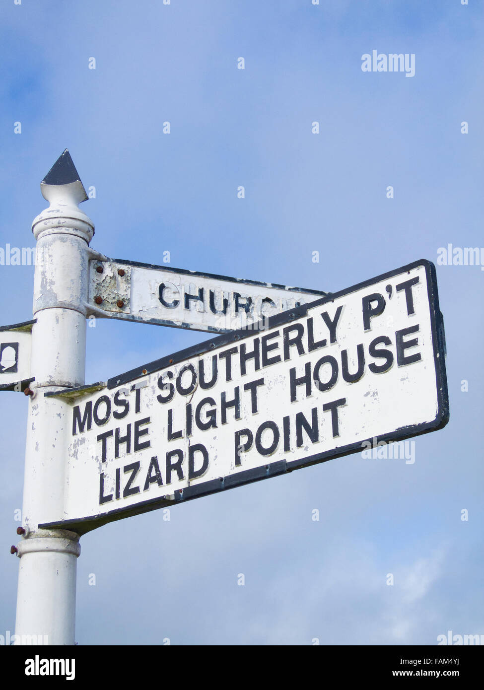 Signpost for the Lizard Point the Most Southerly UK Mainland Point, Lizard Village, Lizard Peninsula, Cornwall, - Stock Image