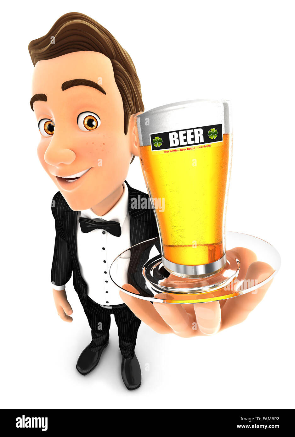 3d waiter holding a glass of beer, isolated white background Stock Photo