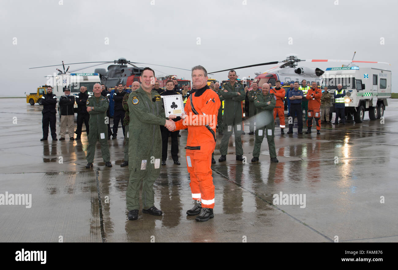 Helston, Cornwall, UK. 01st Jan, 2016. At approximately 0900 on 1st January 2016, 771 Squadron from Royal Naval - Stock Image