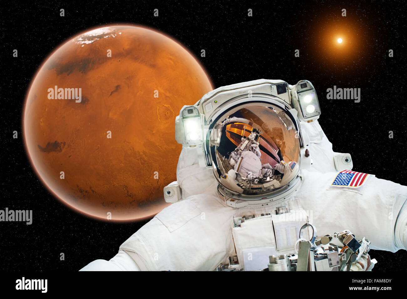 Astronaut in outer space on the Mars- elements of this image furnished by NASA - Stock Image