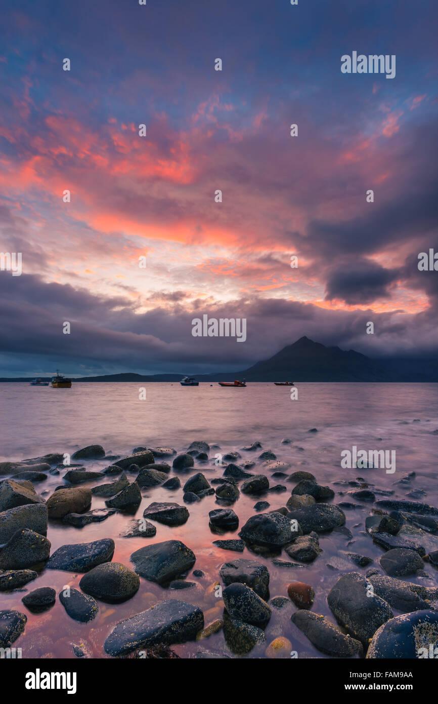 Sunset at Elgol Beach, Isle of Skye, Scotland - Stock Image