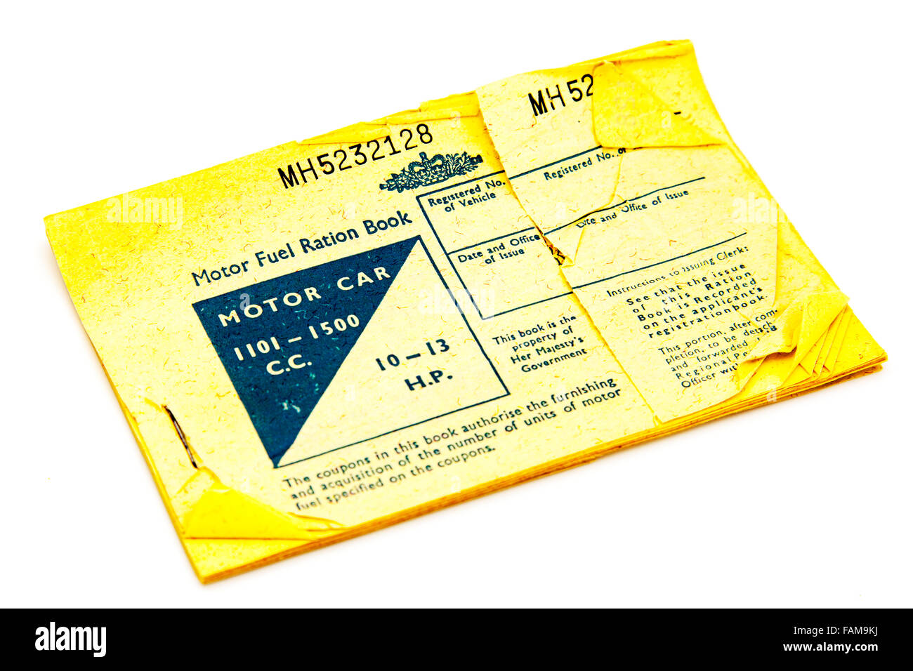 motor fuel ration book rationing shortages petrol British UK GB shortage 1960s 1960's Cutout cut out white background Stock Photo
