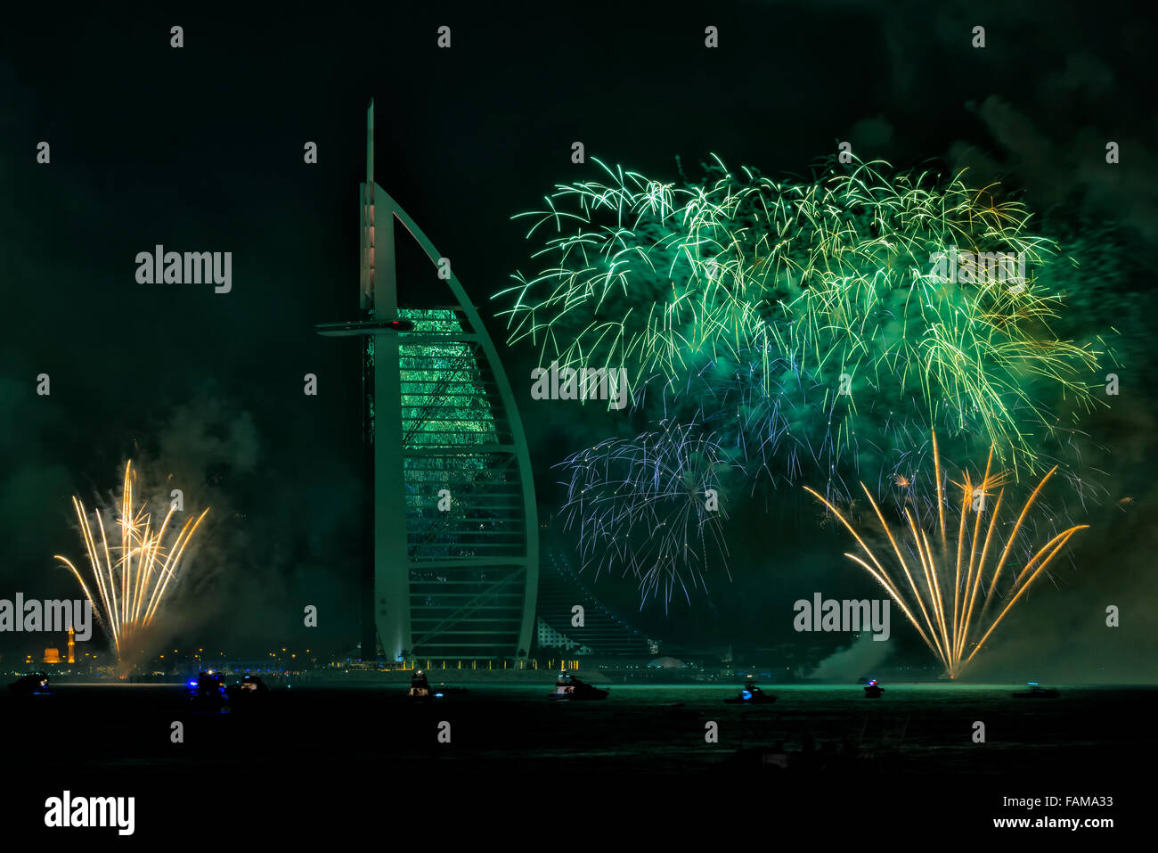 New Year 2015 Fireworks in Dubai, UAE - Stock Image