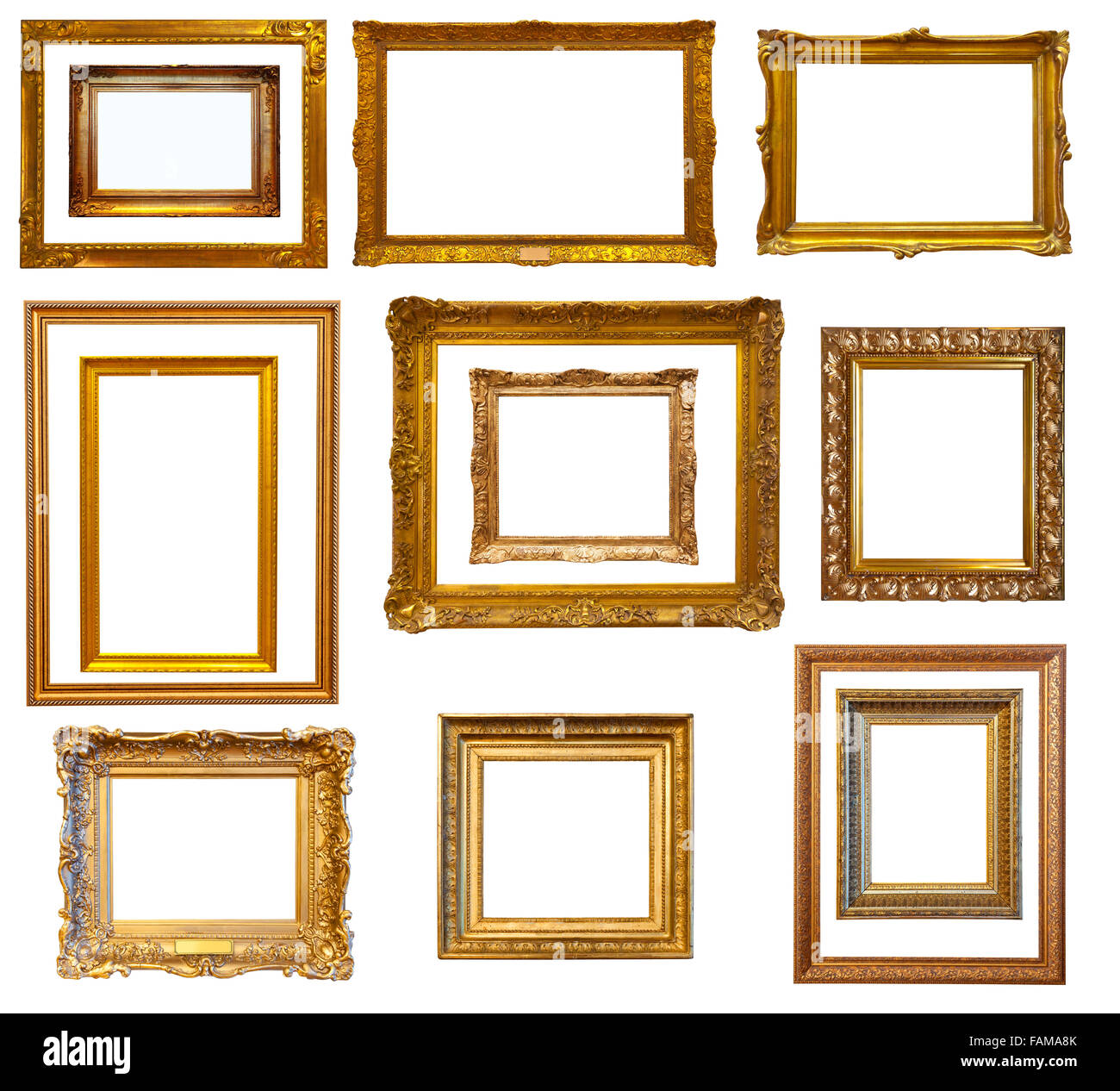 Set of luxury red gilded frames. Isolated over white background, may ...