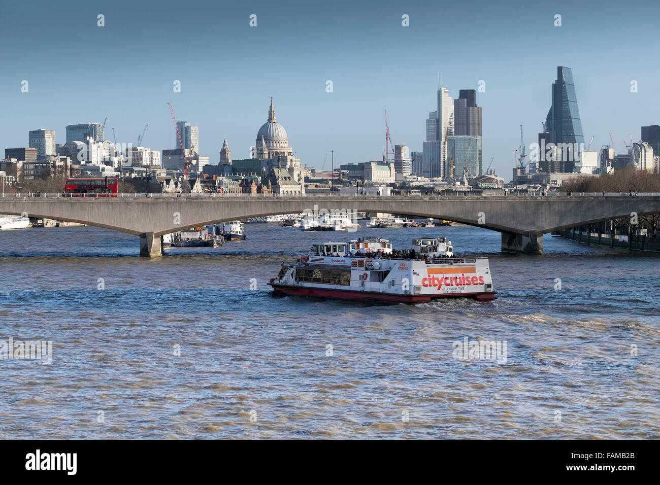 The sightseeing ferry, Millenium Time on the River Thames in London. - Stock Image