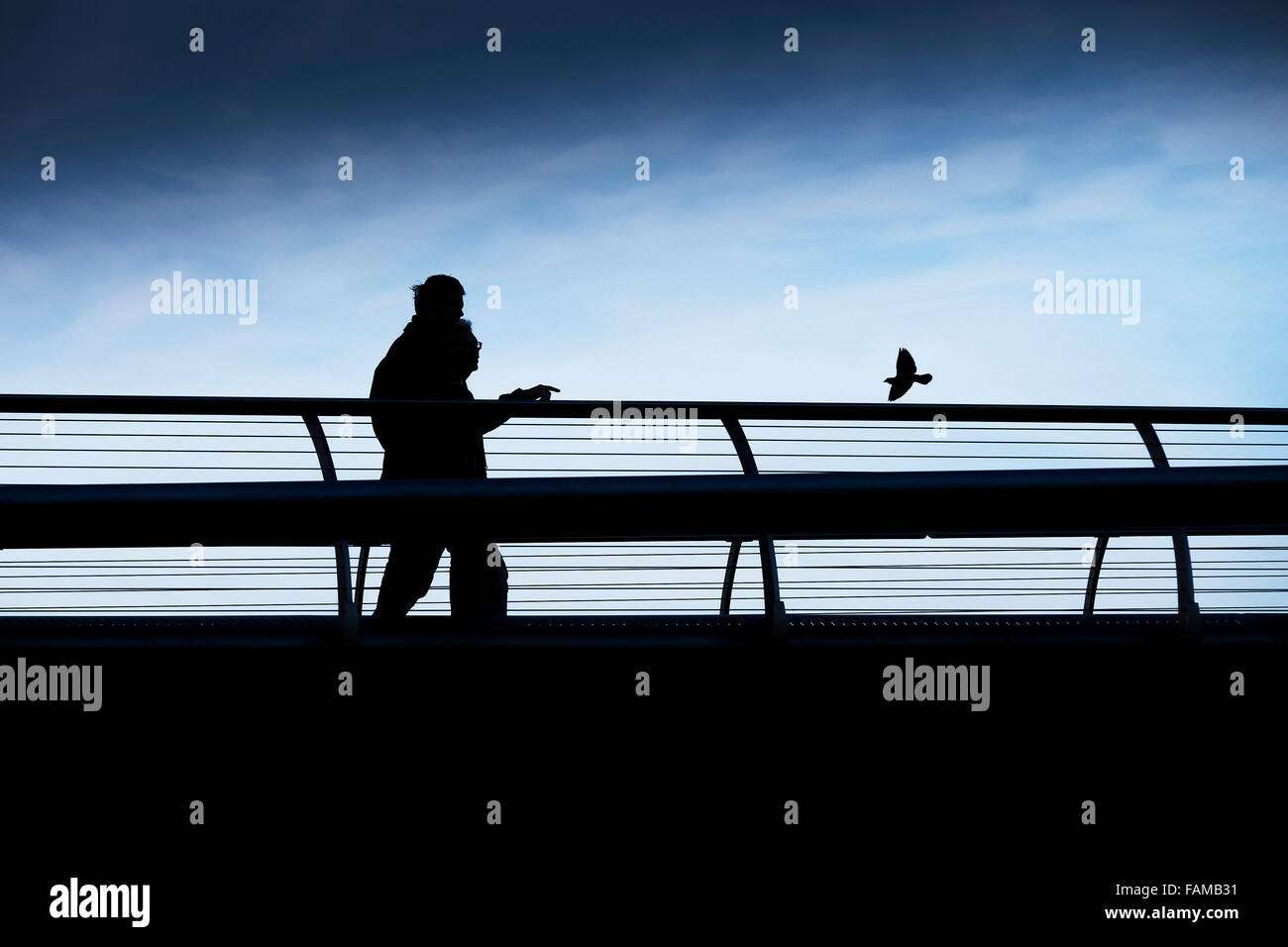 The silhouette of two people and a bird on the Millenium Bridge in London. - Stock Image