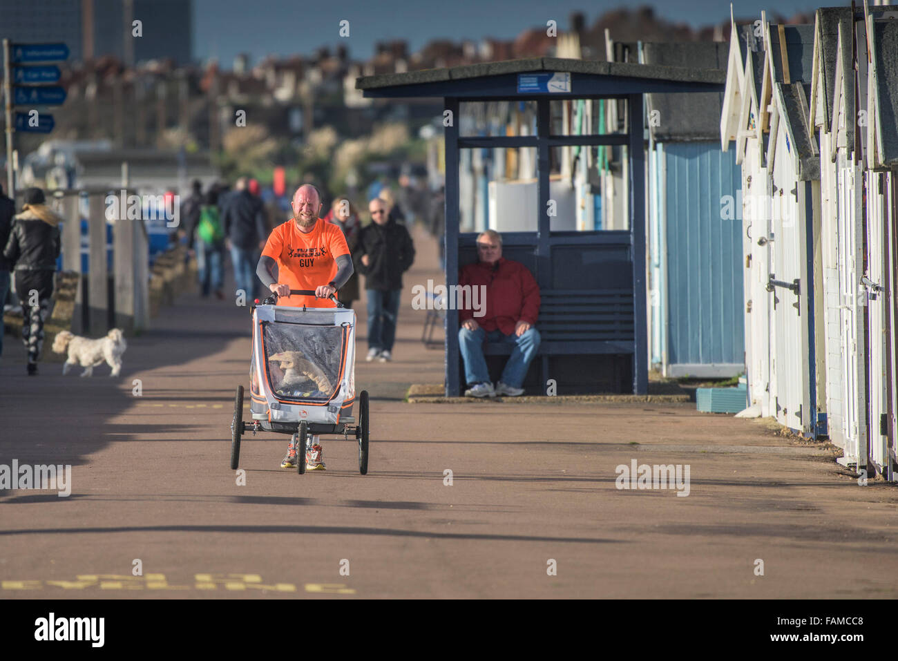 A father jogs along the Thorpe Bay seafront whilst pushing his child in a specialised carriage.  Southend on Sea, - Stock Image