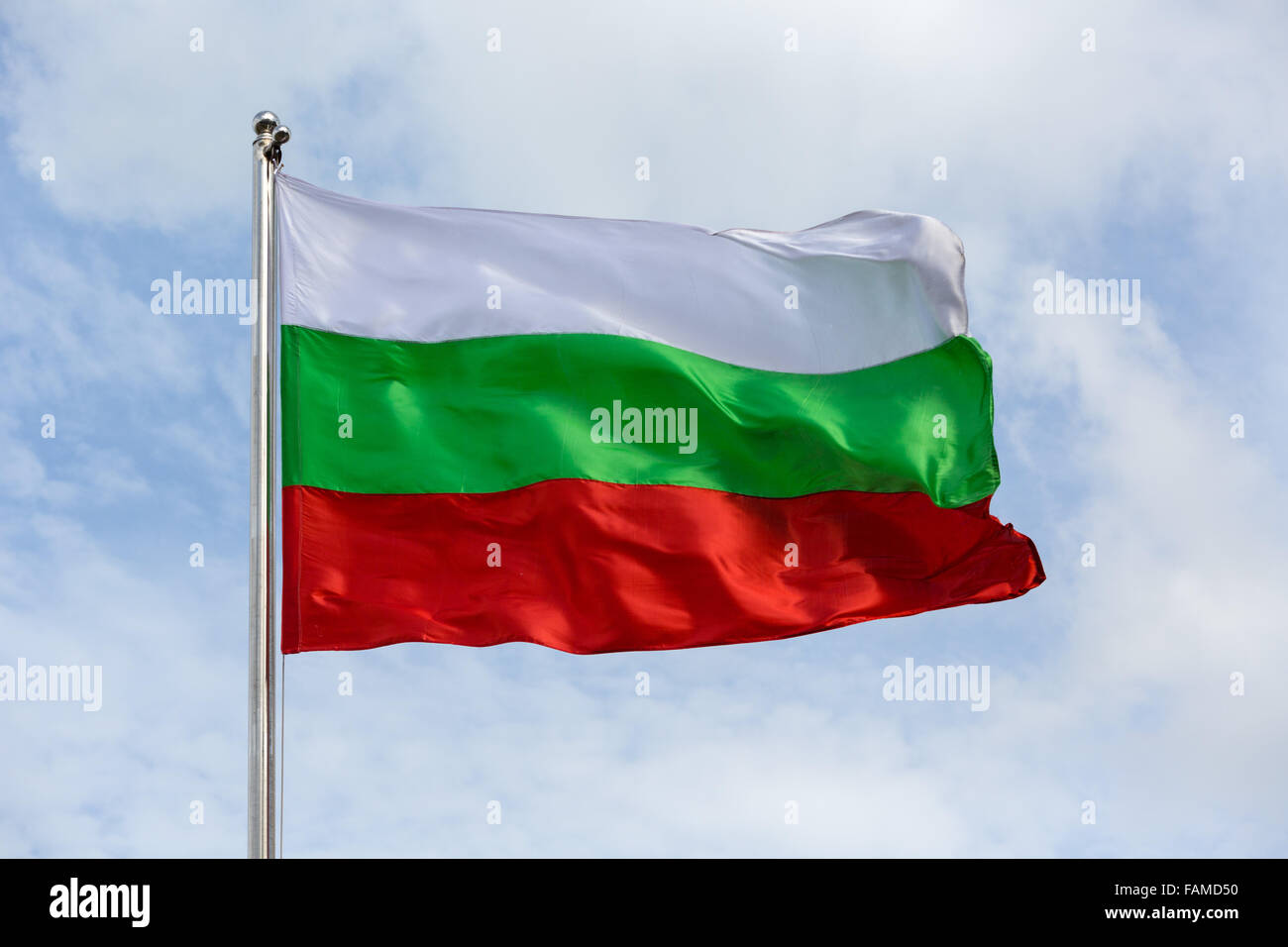 Bulgarian flag blowing in wind - Stock Image
