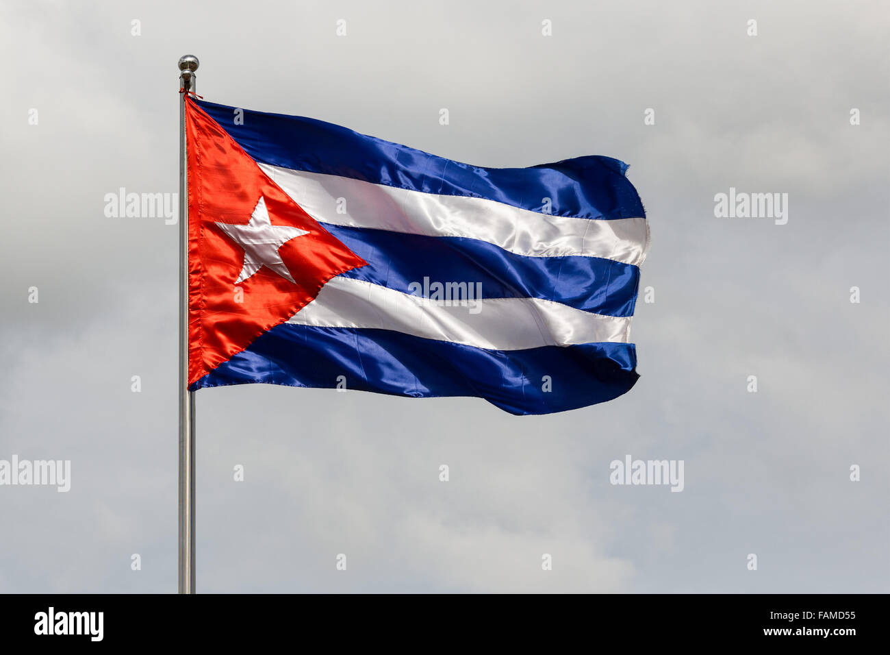 Cuban flag blowing in wind - Stock Image