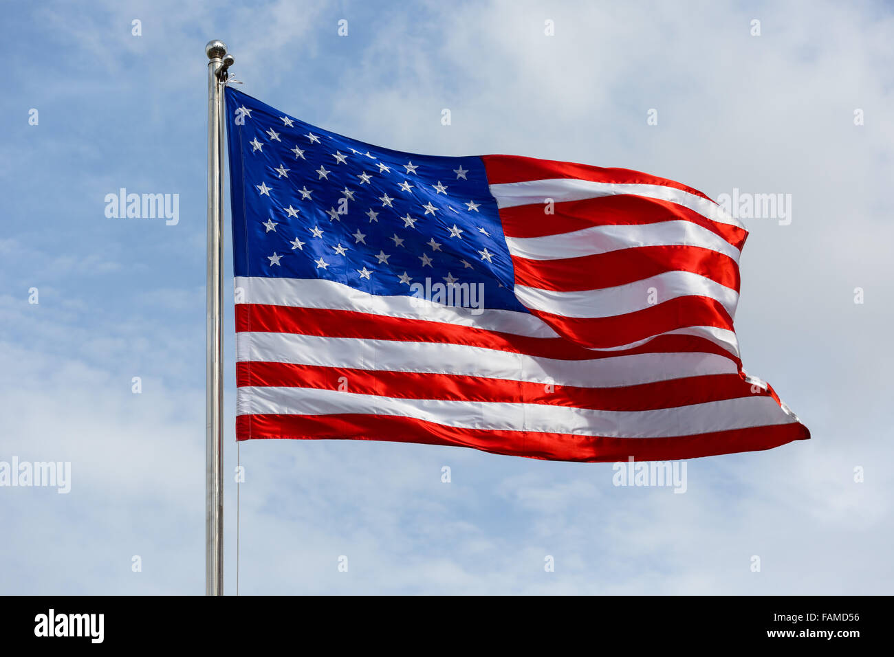 Stars and Stripes, American flag blowing in wind - Stock Image