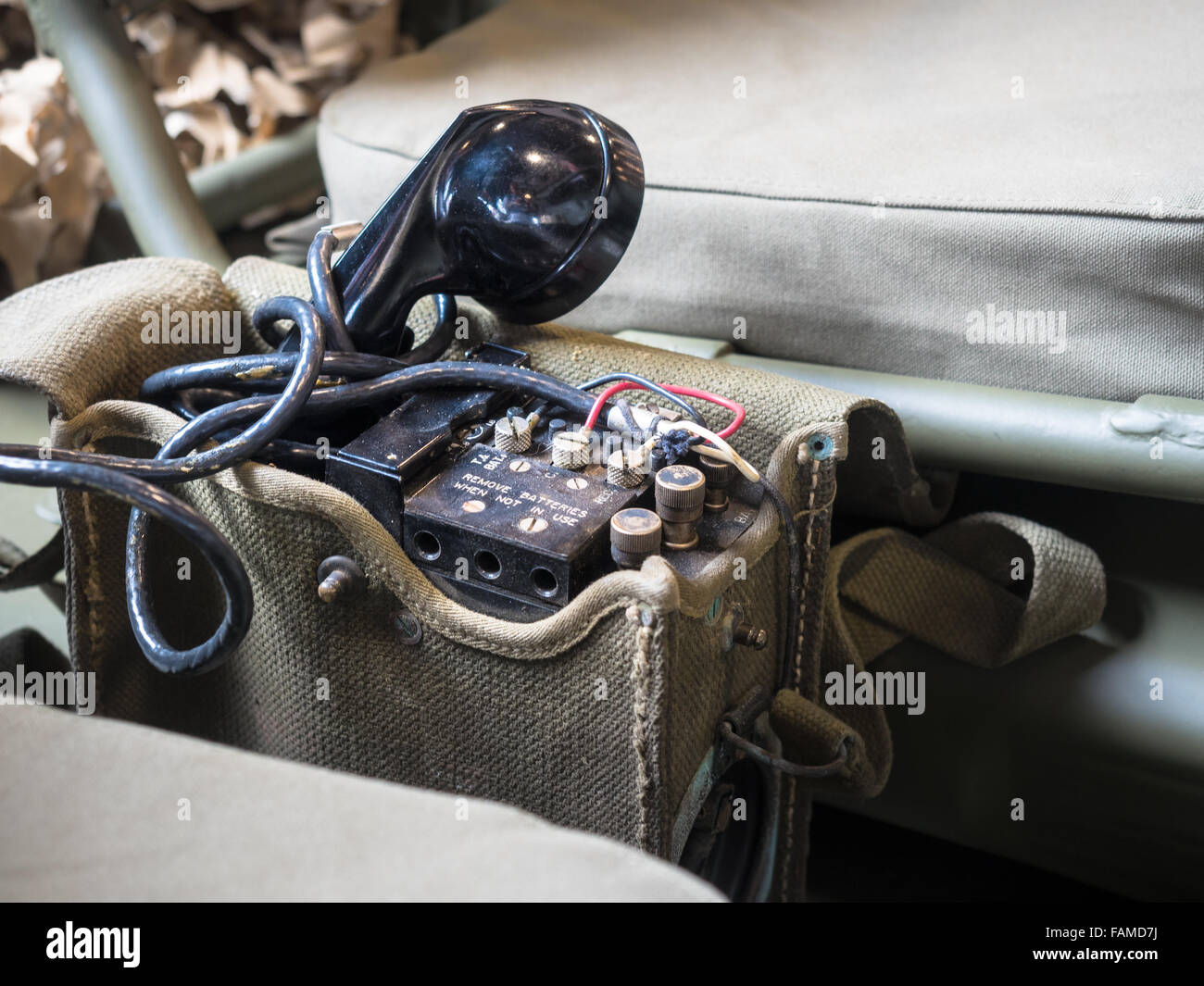 Radio Telephone portable equipped on US military jeep during World War II. - Stock Image