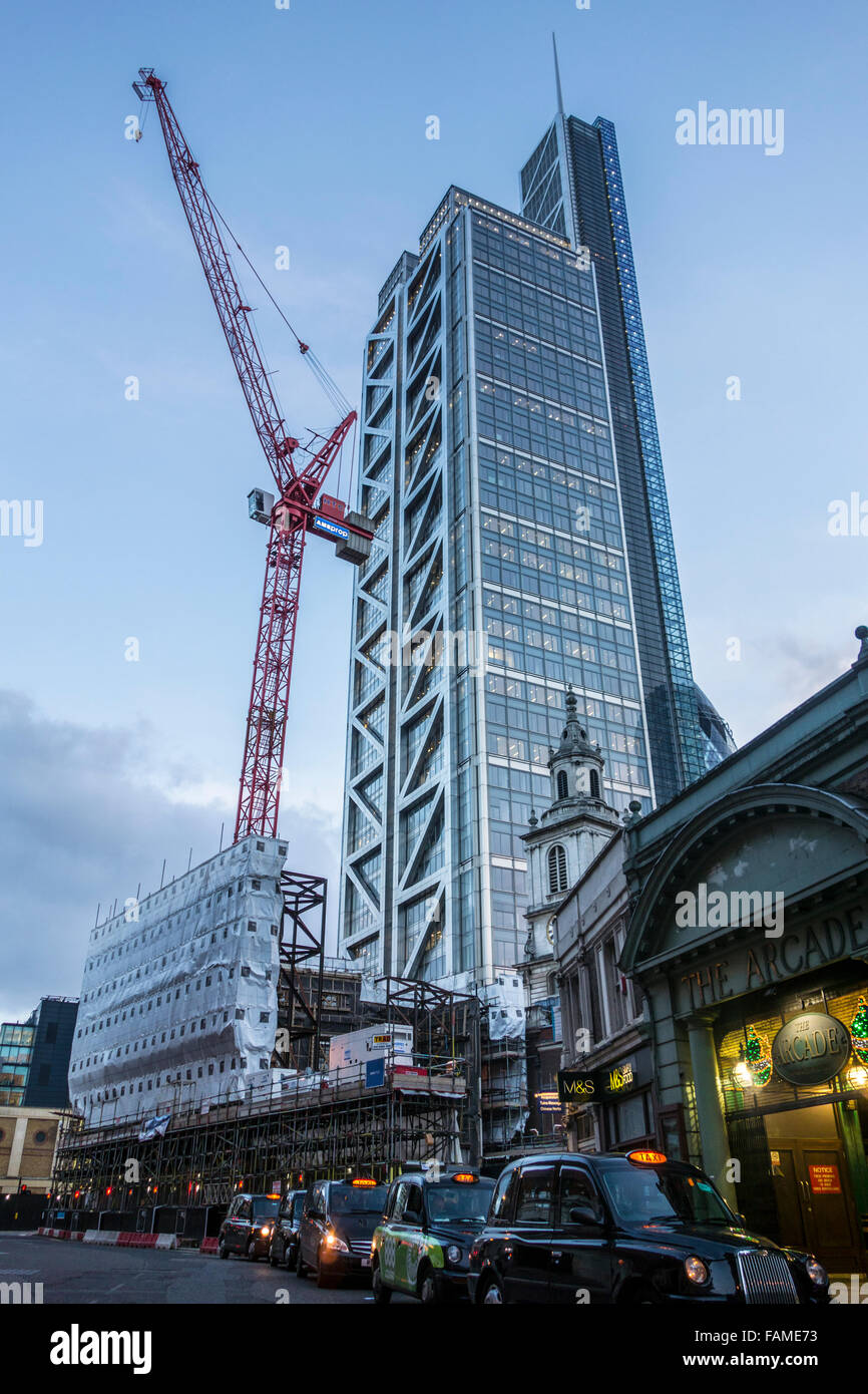 Construction work near Liverpool Street Station with 110 Bishopsgate / Heron Tower in the background, City of London, - Stock Image