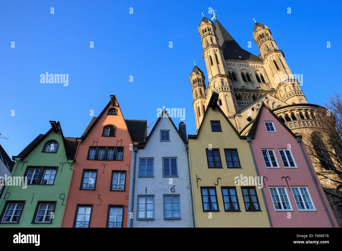 cologne, Gross St. Martin, on the Fischmarkt - Stock Image