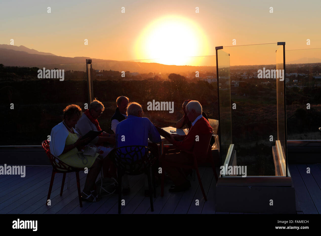 Sunset, Red Loft Rooftop Bar, Kipriotis Panorama Hotel, Kos Town, Kos Island, Dodecanese group of islands South - Stock Image