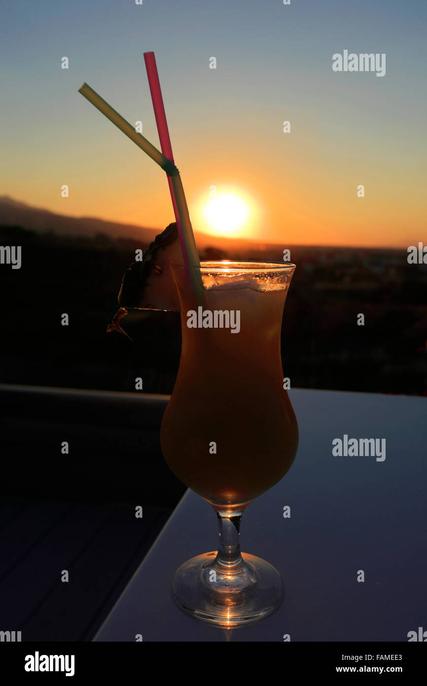 Sunset cocktail drink, Red Loft Rooftop Bar, Kipriotis Panorama Hotel, Kos Town, Kos Island, Dodecanese group of - Stock Image