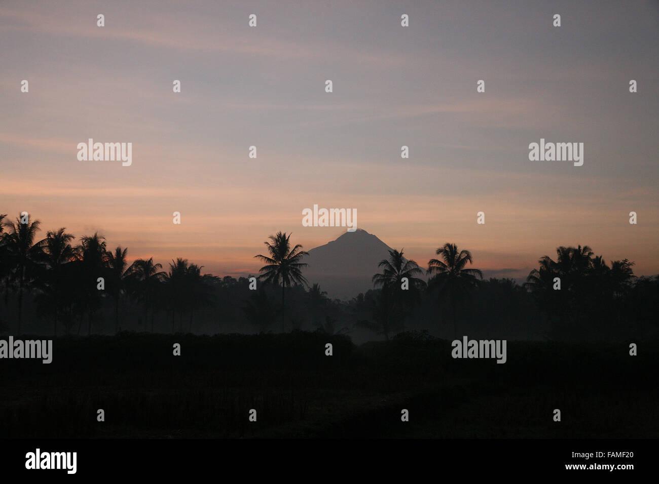 Indonesia Central Java Magelang Mount Merapi at sunrise  Adrian Baker - Stock Image