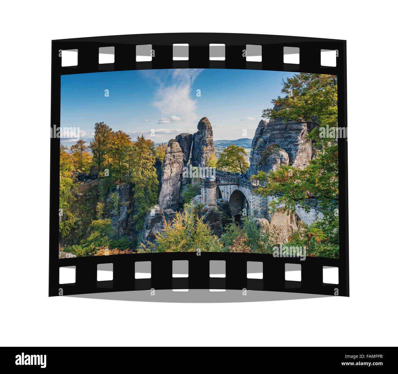View to the Rock formation Bastei (Bastion), Saxon Switzerland, Elbe Sandstone Mountains, Saxony, Germany, Europe - Stock Image