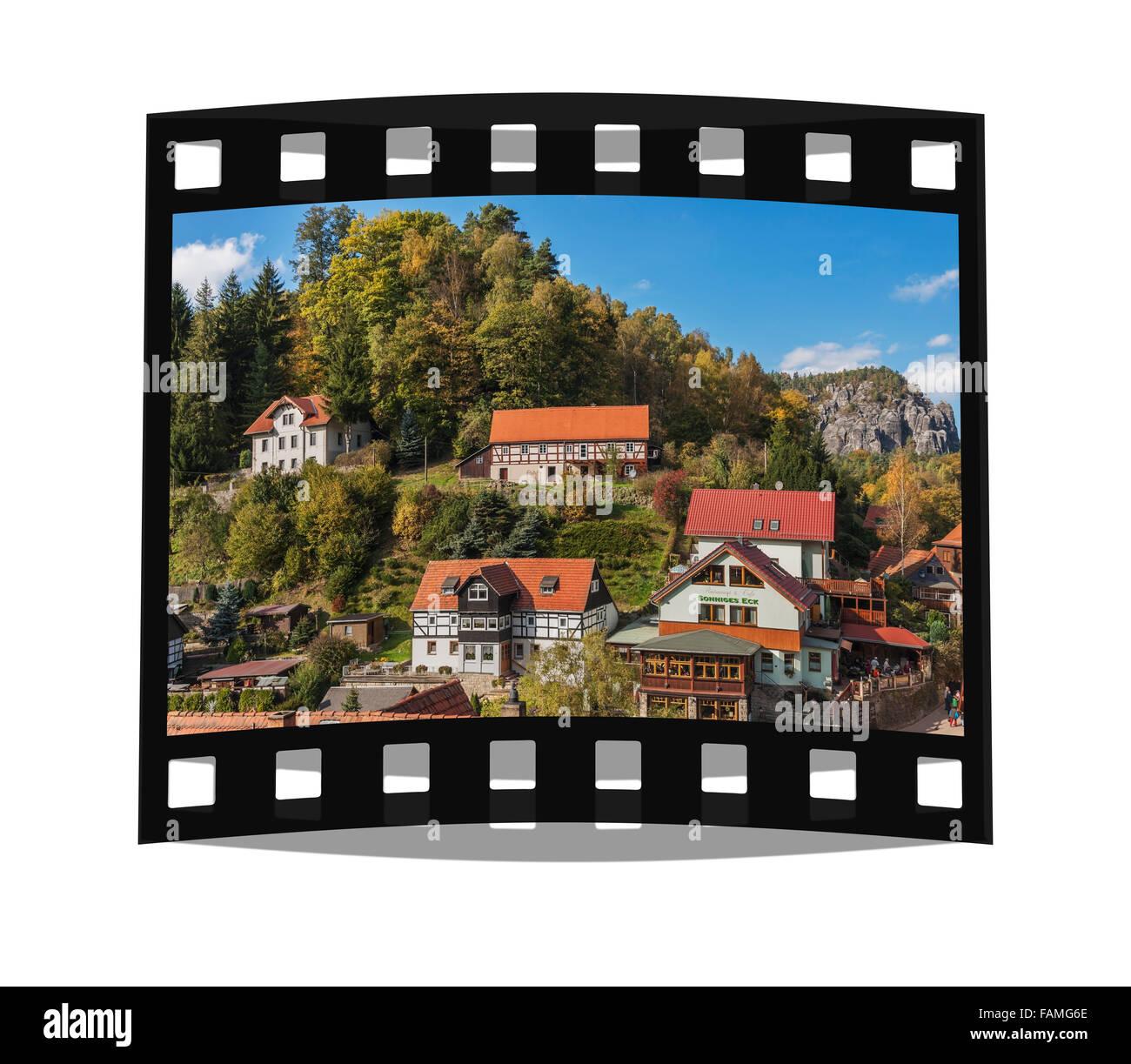 Health resort Lower Rathen, near Dresden, Saxony, Germany, Saxon Switzerland, Elbe Sandstone Mountains, Europe - Stock Image