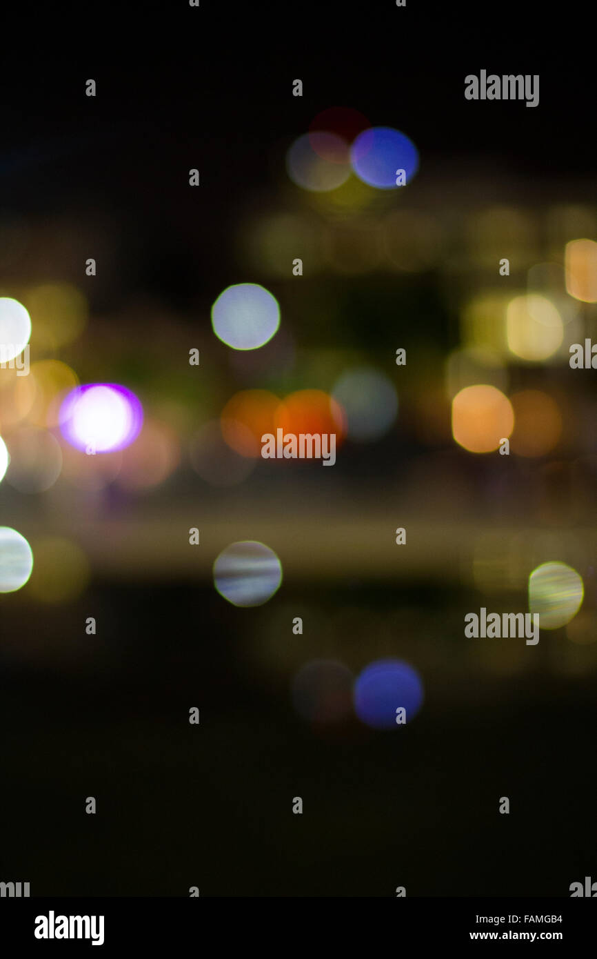Artistic style Background - Defocused urban abstract texture ,boke of city lights in the background with blurring - Stock Image
