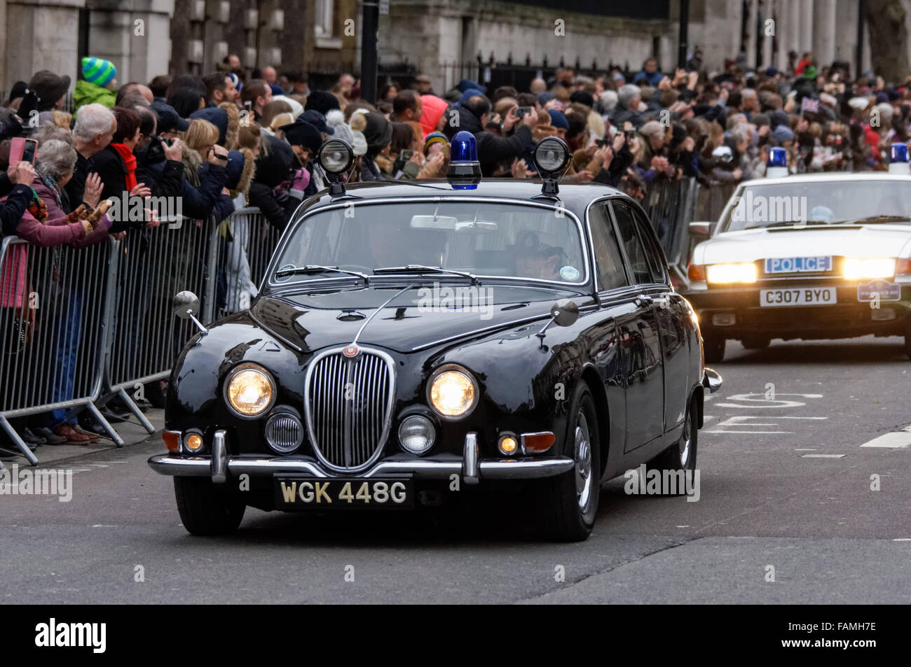 London, UK. 1st January, 2016. Old police cars at the London New ...