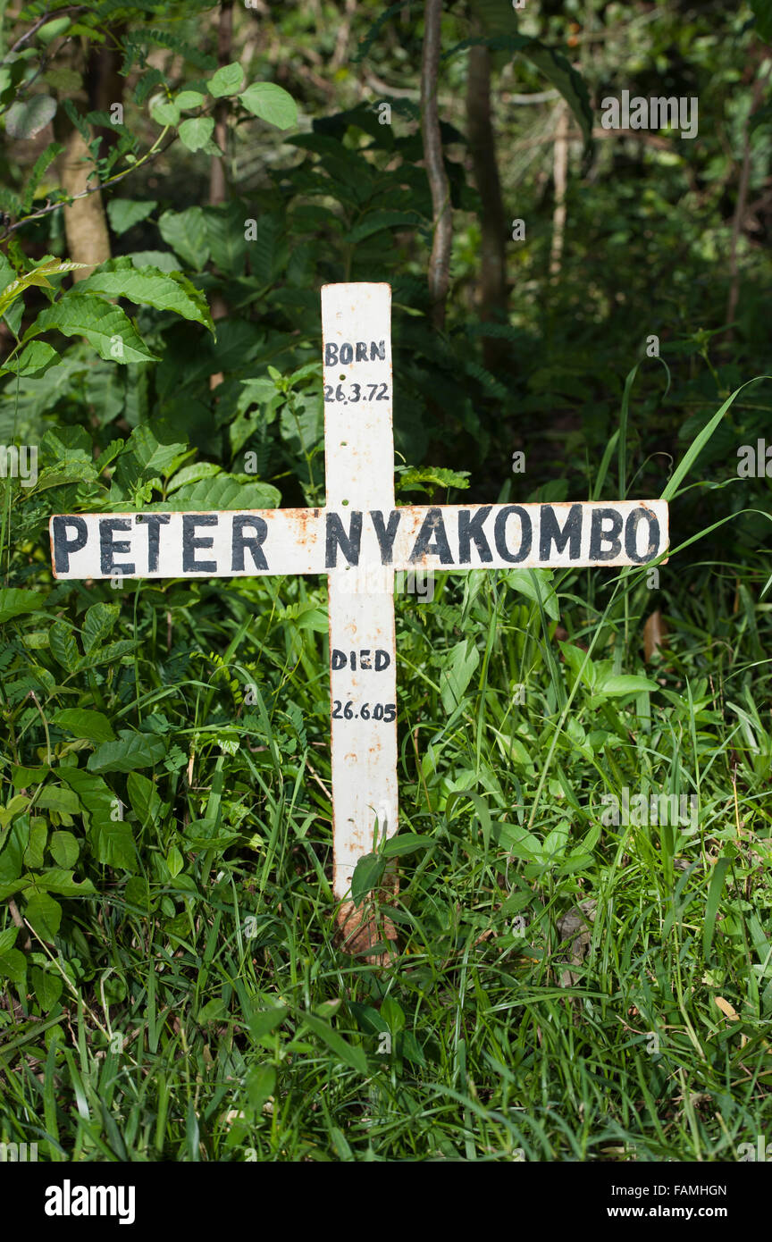 Simple cross marking the grave of a young man who died of HIV-Aids in rural Kenya. - Stock Image