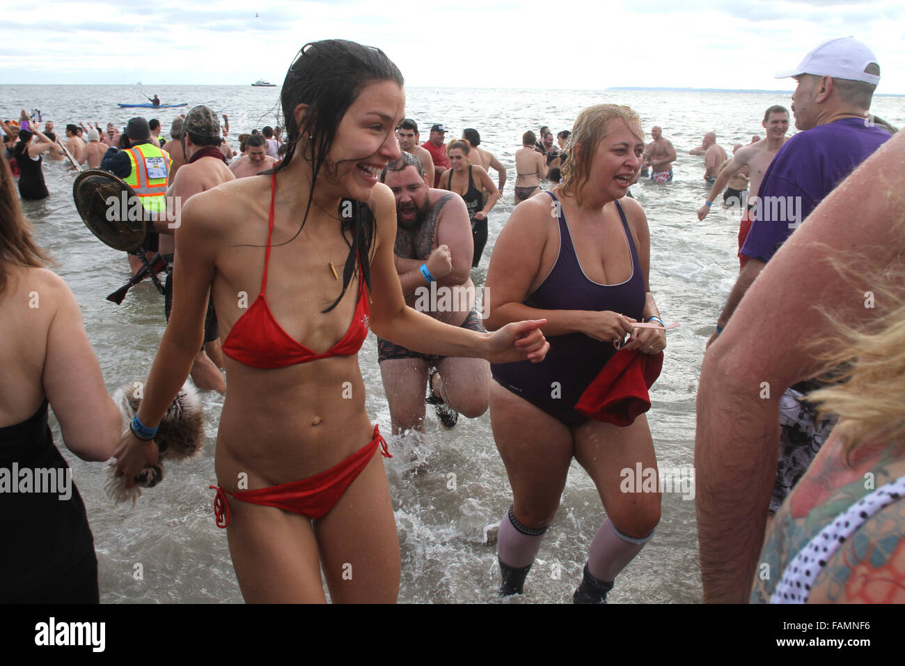 New York, New York, USA. 1st Jan, 2016. 2016 New Years Day Polar Bear Plunge held at Coney Island Beach in Brooklyn - Stock Image