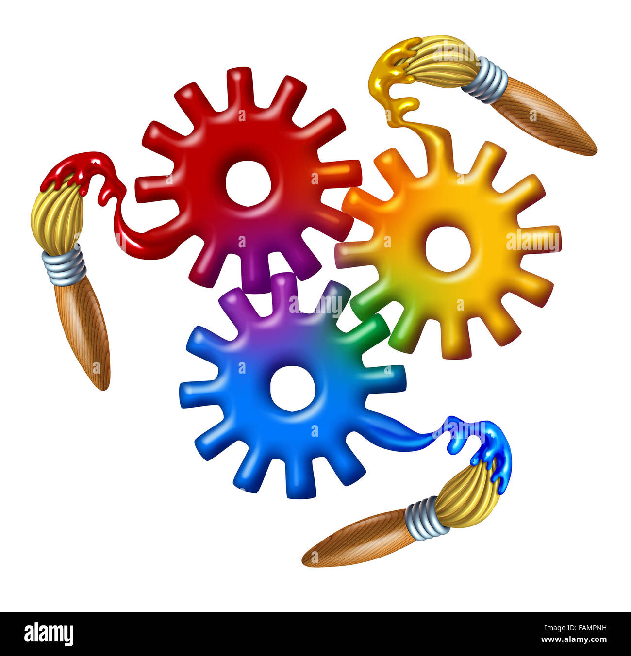 Art business symbol and color theory icon as a group of gears and cog wheels made of wet primary color paint with - Stock Image