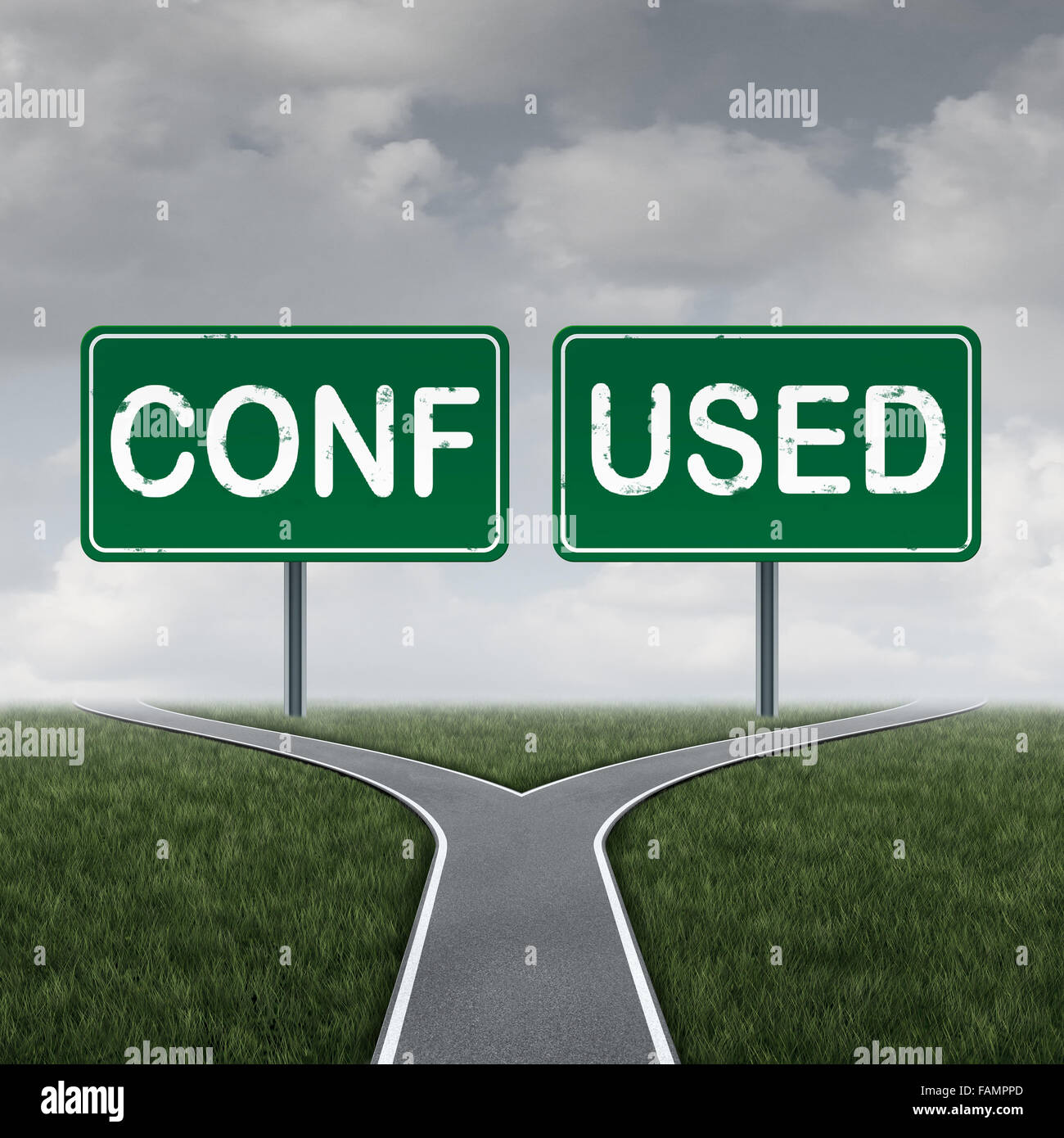 Confused cross road or crossroad choice concept and decision symbol as a metaphor for a dilemma pathway with two - Stock Image