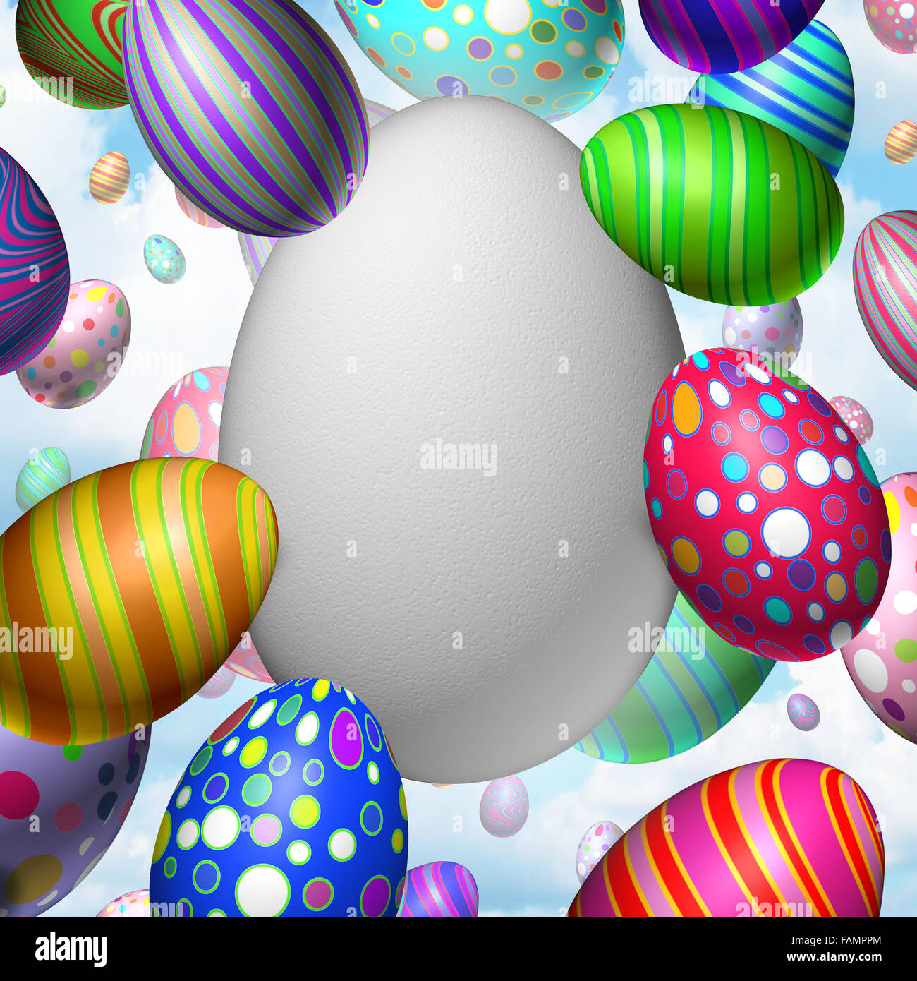Easter Celebration Blank Egg concept as a group of flying decorated eggs with one large white egg as a symbol for - Stock Image
