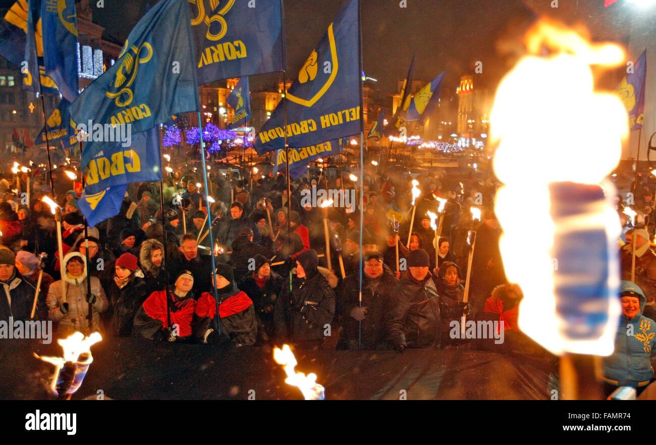 Ukraine. 1st January, 2016. Supporters of the Ukrainian nationalist parties 'Svoboda','Right Sector' - Stock Image