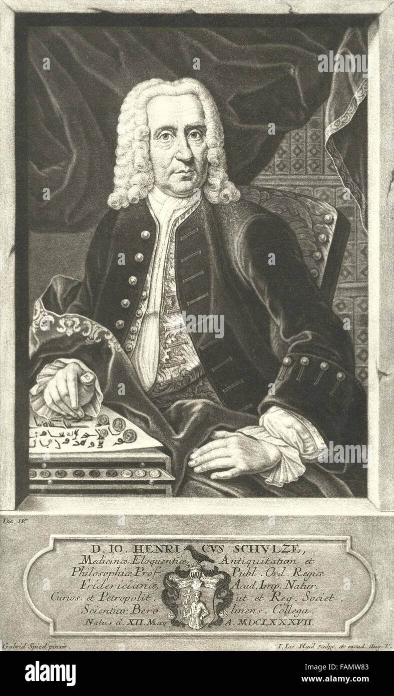 Johann Heinrich Schulze, ca 1727, by J.J. Haid