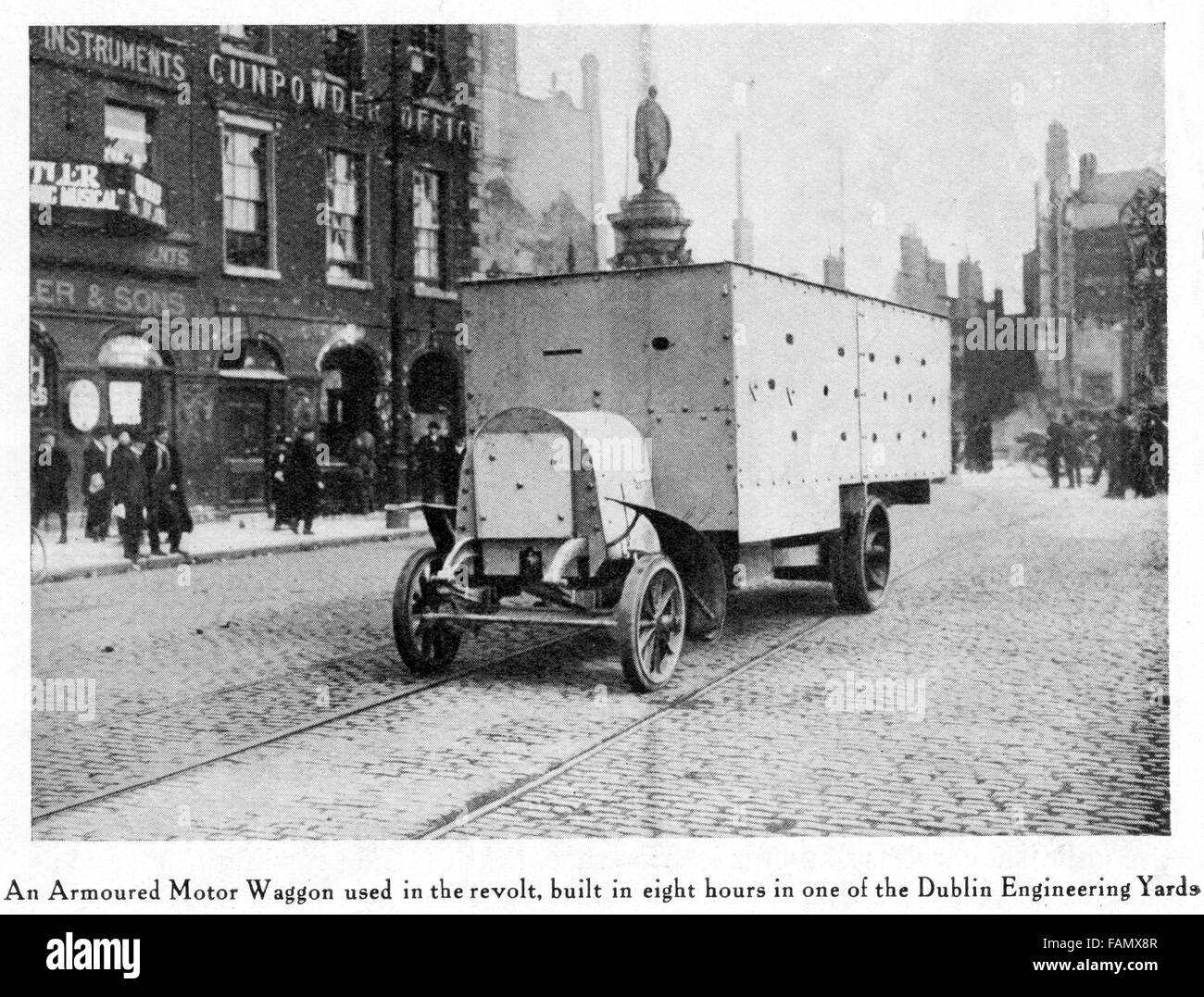 Armoured Car, Easter Rising, 1916 photo of an armoured wagon on the Dublin streets built quickly by the British - Stock Image