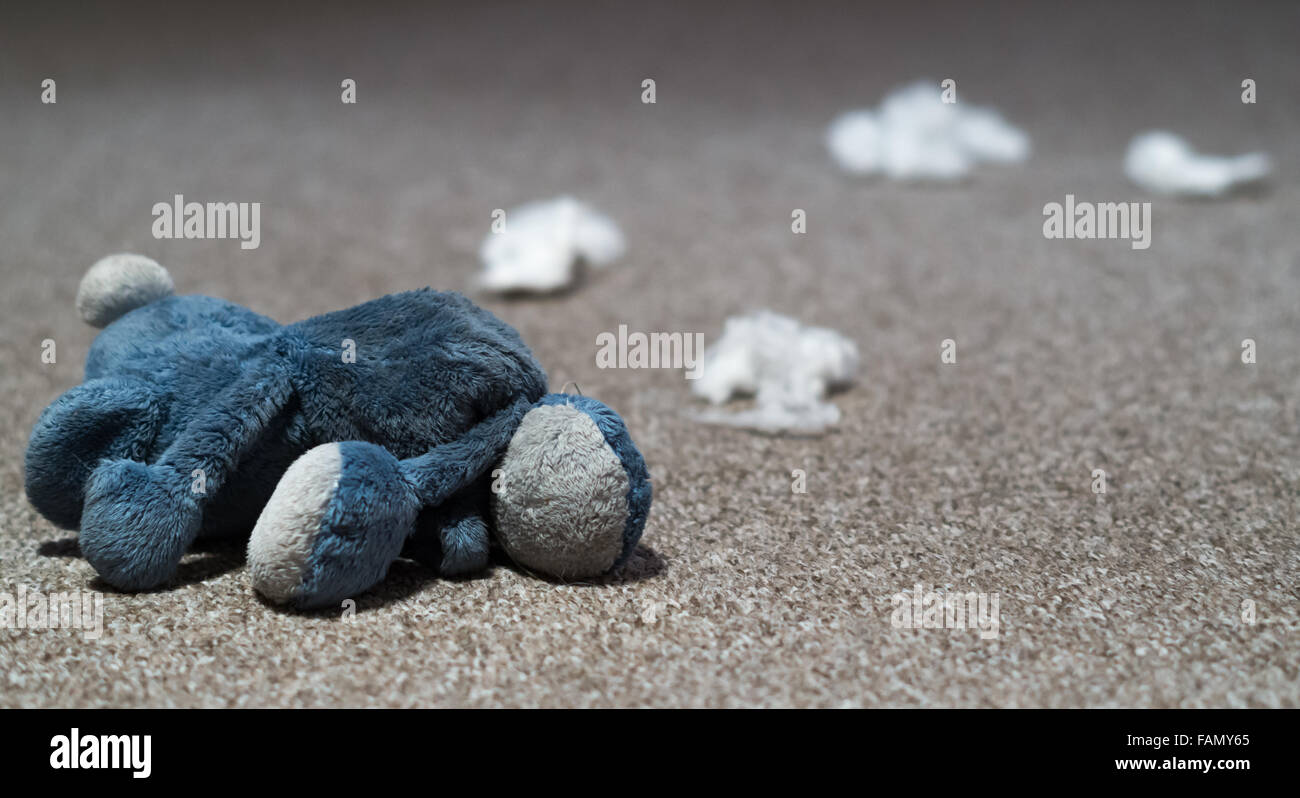 A blue soft toy that has been destroyed by a dog with it's filling spread out on a carpeted floor. - Stock Image