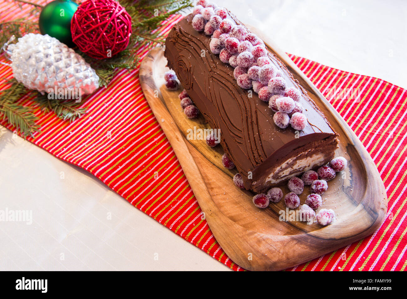 buche de noel cake with christmas decoration stock photo 92658869 alamy. Black Bedroom Furniture Sets. Home Design Ideas