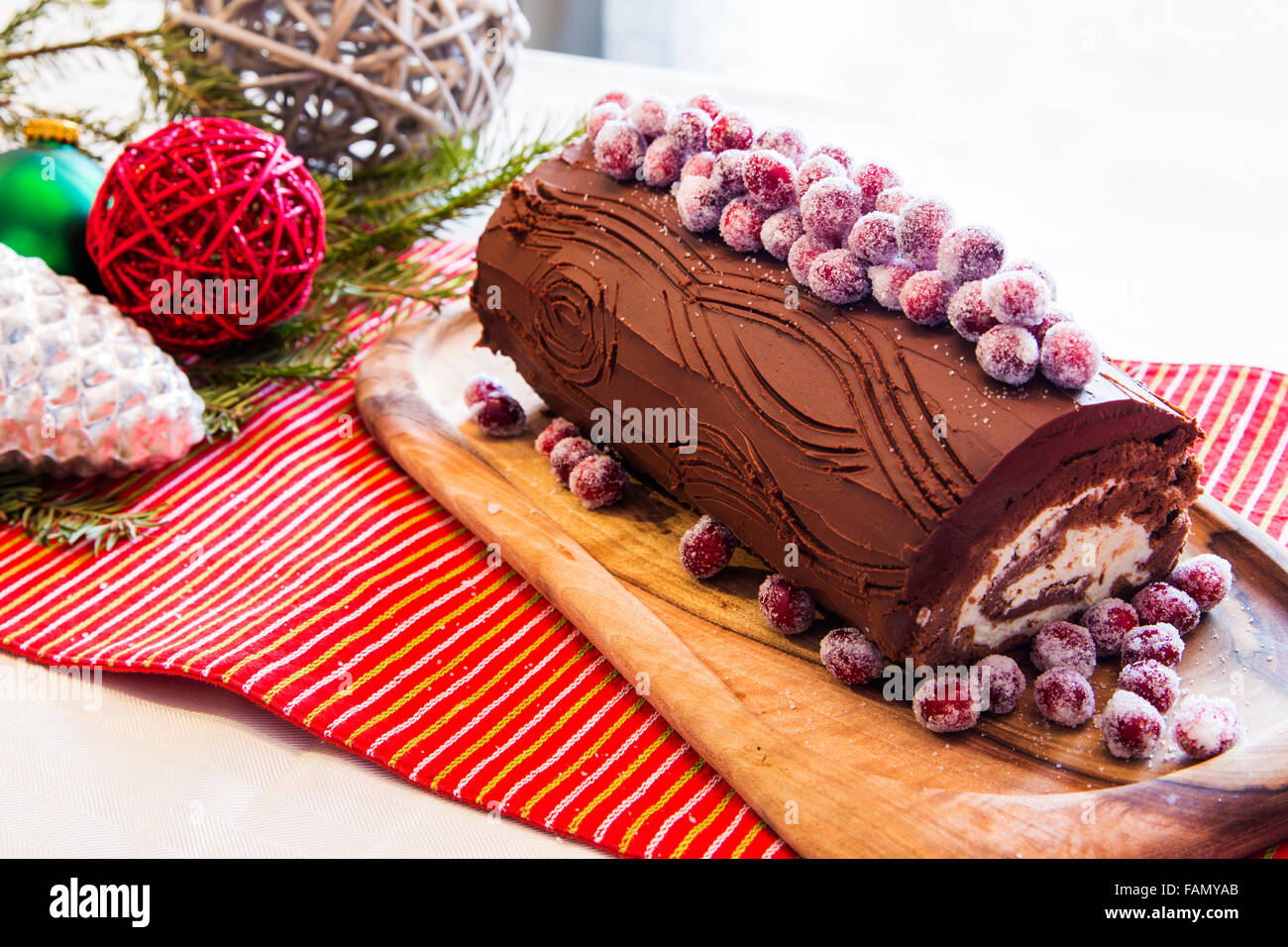 buche de noel cake with christmas decoration stock photo. Black Bedroom Furniture Sets. Home Design Ideas