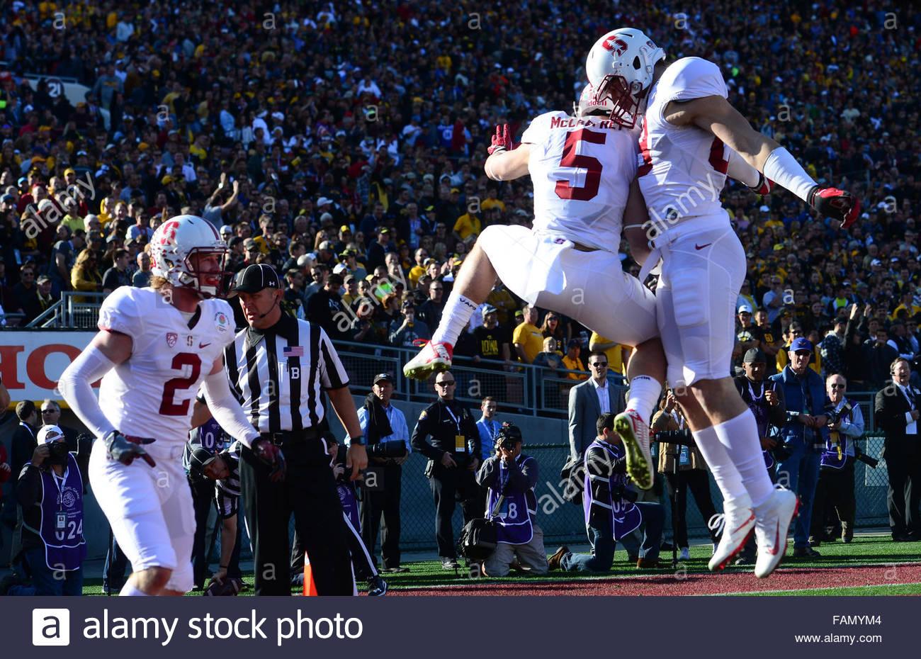 Pasadena, California, USA. 01st Jan, 2016. Stanford running back Christian McCaffrey (5) after a 75 yard touchdown - Stock Image