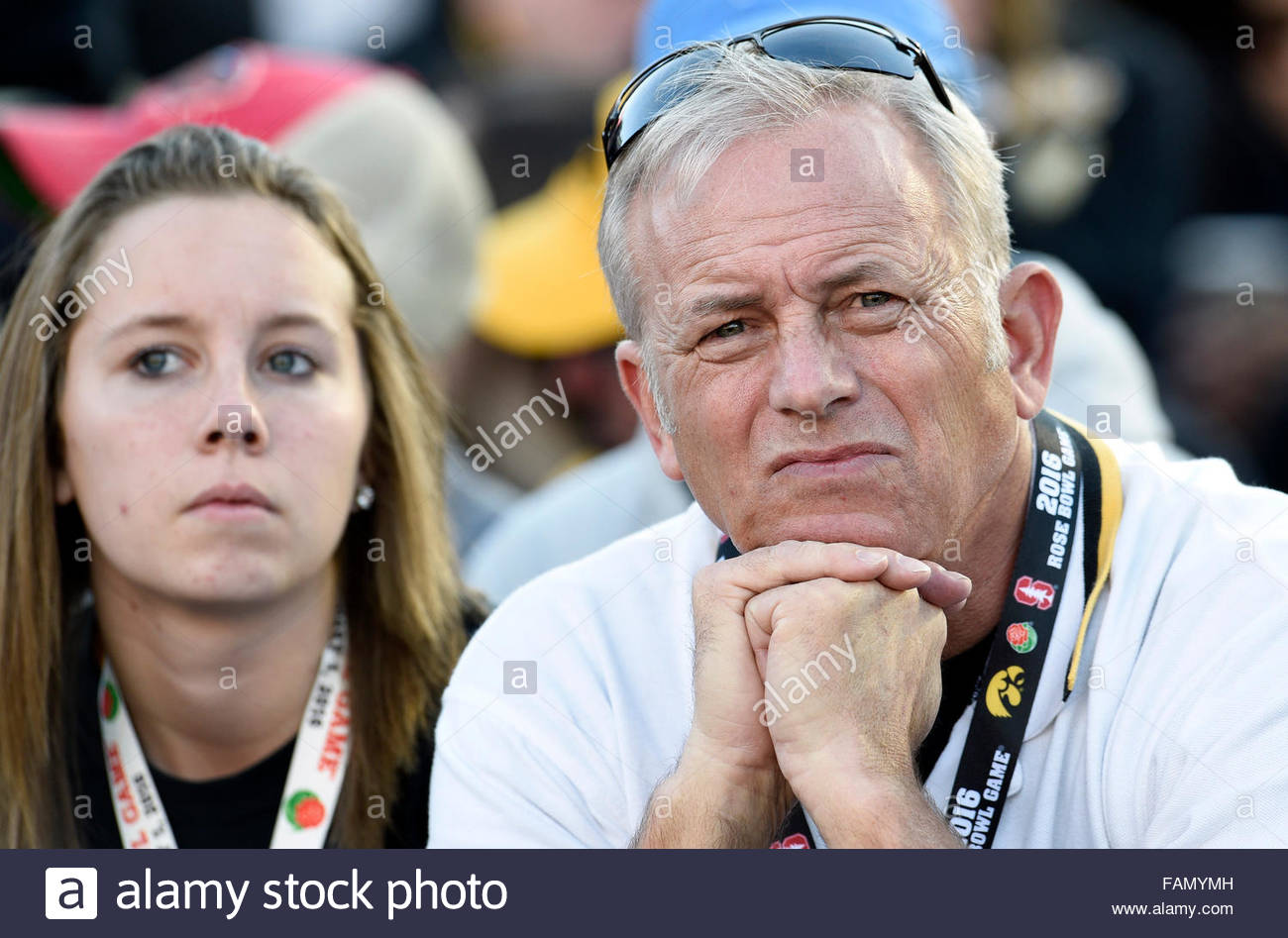 Pasadena, California, USA. 01st Jan, 2016. Dejected Iowa fans in the first half of the 102nd Rose Bowl game against - Stock Image