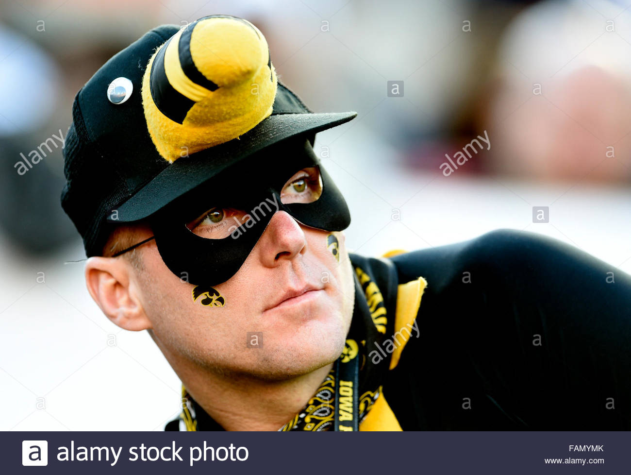 Pasadena, California, USA. 01st Jan, 2016. Dejected Iowa fan in the first half of the 102nd Rose Bowl game against - Stock Image