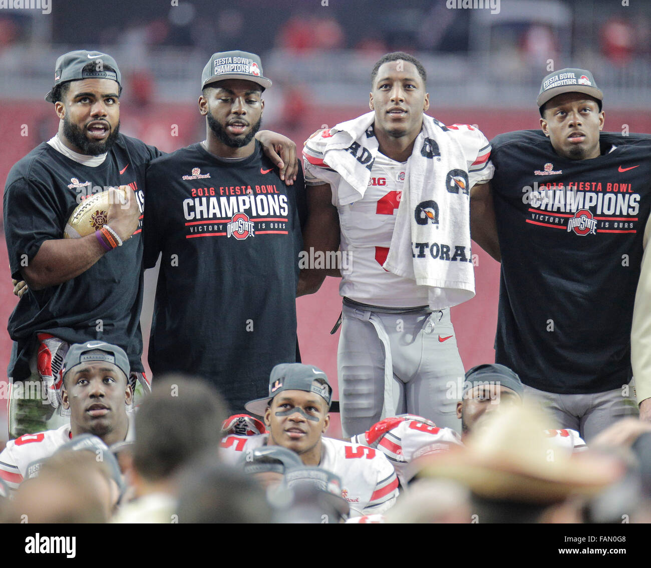 Glendale, AZ USA. 01st Jan, 2016. Ohio State ( L-R) Ezekiel Elliott, J.T. Barrett, Michael Thomas and Eli Apple - Stock Image