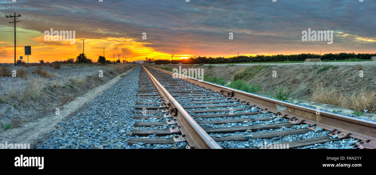 Panoramic view of train tracks leading into the distance Stock Photo