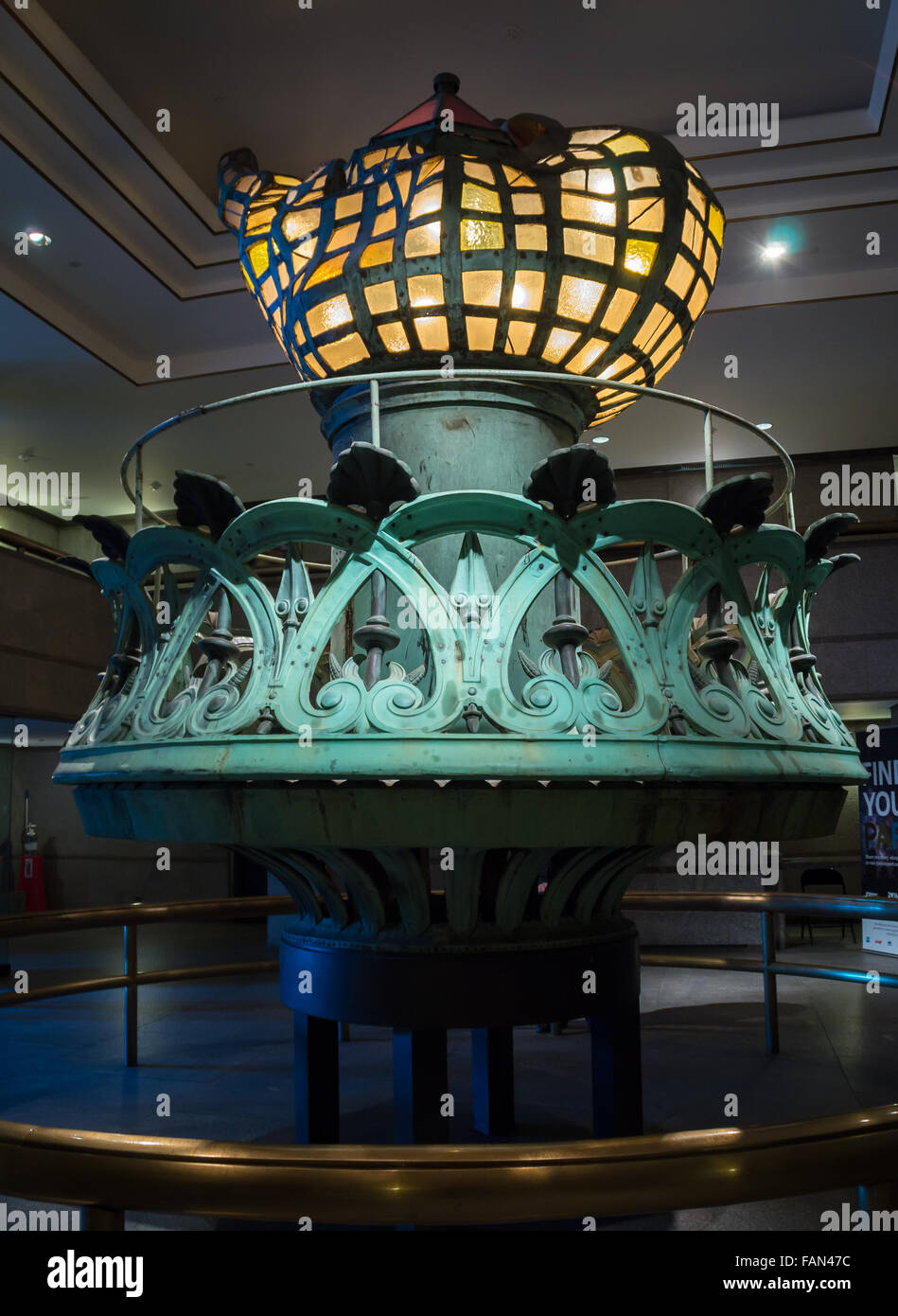 The original torch of the State of Liberty, displayed in the foyer of the Statue of Liberty museum on Liberty Island, - Stock Image