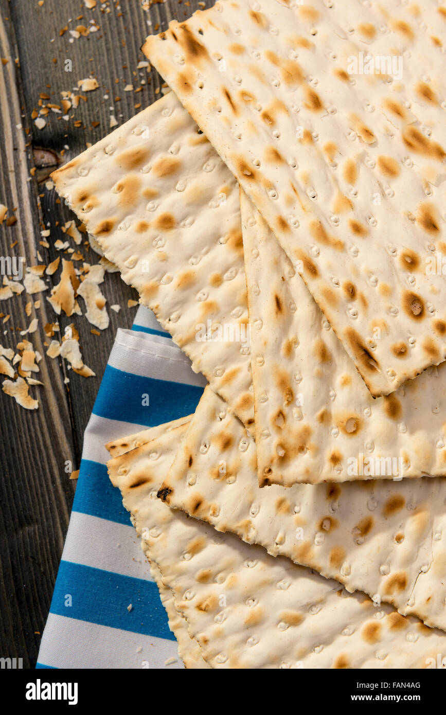 Matzah - An unleavened bread, traditionally eaten by Jews during the Passover festival - Stock Image