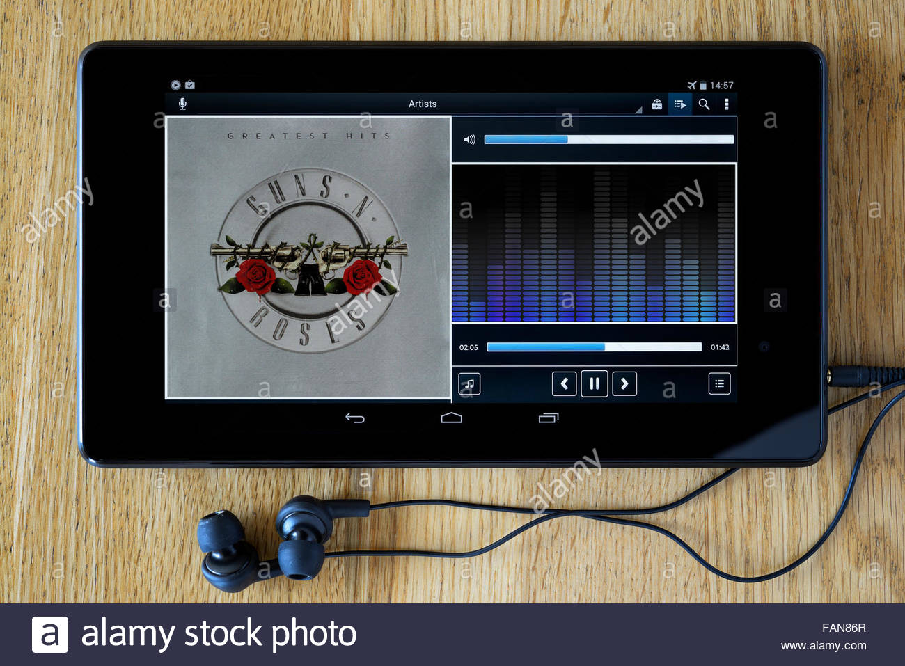 Guns N Roses greatest hits album, MP3 album art on PC tablet